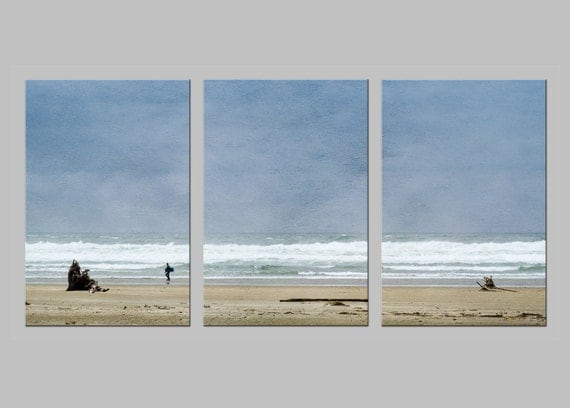 Cannon Beach in Oregon. Pacific Coast. Ocean. Sand. Waves. Surf. Sky. Travel Photography. Metal Triptych Print. FREE SHIPPING.