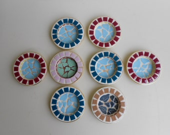8 Vintage Ceramic Tile Mosaic Ashtrays