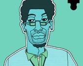 "1001 Black Men--#705: Bookstore Blues 8.5"" x 11"" Print"