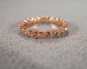 Vintage Rose Gold Tone Multi Round Rhinestone Eternity Style Wedding Band Stacker Style Ring, Size 7