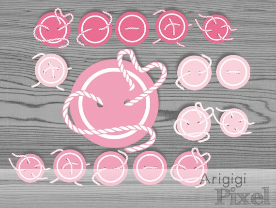 Cute as a Button - pink buttons clipart PNG - new baby clipart - buttons and thread clip art - download