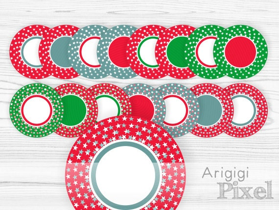 Digital Frame Clip Art Set - round frames with stars in red green blue