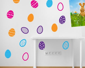 Easter Eggs Wall Stickers Kids Nursery Play Room Home Art Decoration Children Decals Removable Handmade School Bedrooms Bright VC-A145