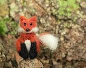 Miniature Fox, Woodland Animal Artwork, Needle Felted Miniature Plush Art Doll or Ornament