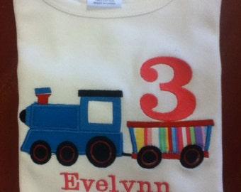 Birthday Shirt, Girl, Train Birthday, Girl Train Birthday, Shirt