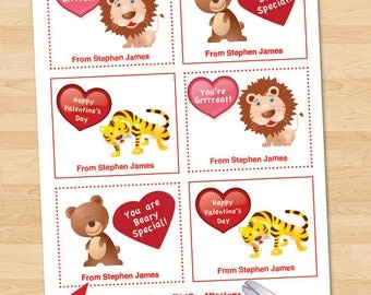 Instant Download Valentine Cards, Digital Printable Editable Kid's Valentines, Personalized Children's - Lions, Tigers, Bears