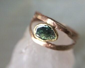 Rose Cut Diamond 18kt Gold Rustic Engagement Ring- Recycled Gold Blue Diamond Engagement ring- Rose Cut Diamond