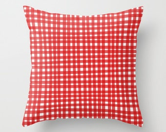 Red Gingham Pillow, Red and White Throw Pillow Cover, Red and White Pillow, Checked Throw Pillow Case, Red White Pillow, Red Pillow Cover