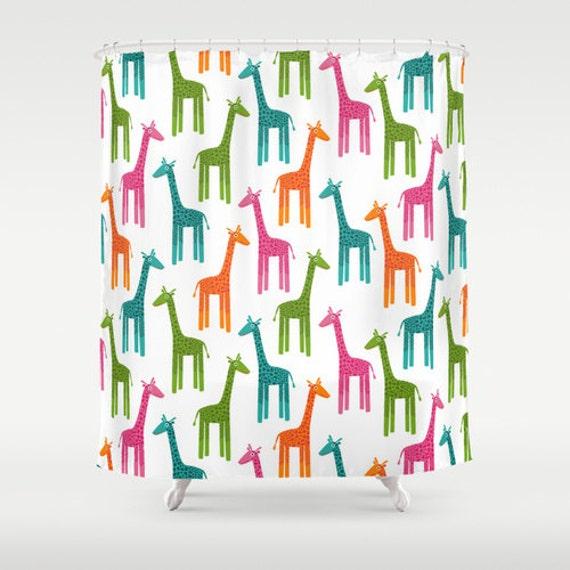 Giraffes Shower Curtain, Unique Bathroom Decor, Cute Bath Curtain ...