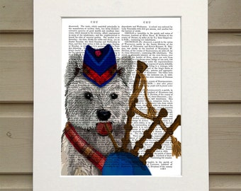 West Highland Terrier and Bagpipes, Westie Print Wall Art Digital Print Acrylic Painting Illustration wall decor Wall Hanging Dog Print