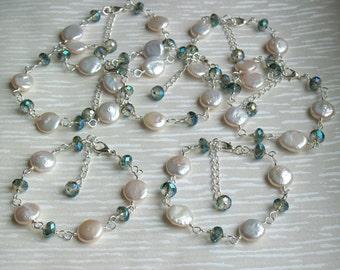 Ivory Bracelet, Freshwater Coin Pearl Bracelet, Teal Crystal Pearl Bracelet, Bridesmaid Bracelet, Wedding Jewelry, Ivory Pearl Bracelet
