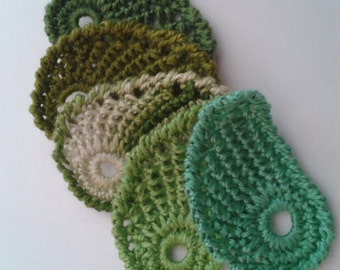 Crochet Leaf  Motif  Applique Set of 5 Textured Leaves in shades of green Cotton Crochet Thread
