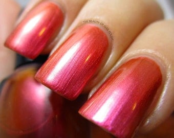 Sunsets of Tahiti from the Tropical Sanctuary Collection, Pink-Orange  Multichrome Nail Polish (15 mL Full Size or 7.5mL Mini Bottle)