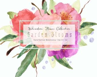 Garden Blooms Watercolour Clip Art