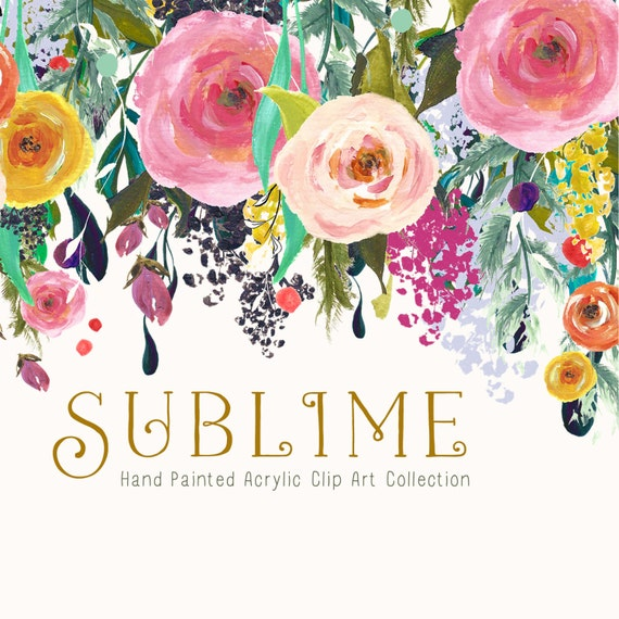 Hand Painted Flower Clip Art Collection Sublime by ...