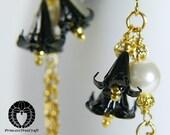Mini Origami Flower Earrings, Black Lilies