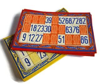 Vintage Used Bingo Lotto Cards . Set of Eight .