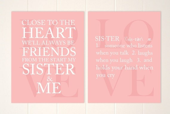 Wall Art Quotes For Sisters : Sisters wall art quote siblings