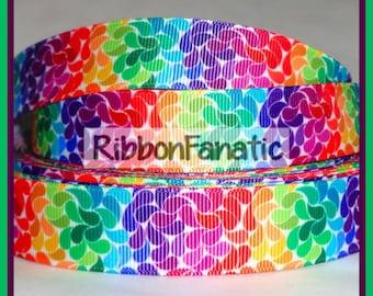 "5 yds 7/8"" Rainbow Swirled Paisley Grosgrain Ribbon"