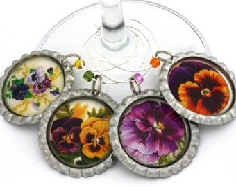 Pansy party favors pansy wine charms sorority flower violet purple floral yellow flower drink tags.