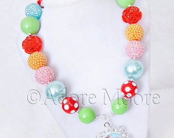 Peppa Pig Inspired Necklace, Chunky Necklace, Chunky Bead Necklace, Child Girls Necklace