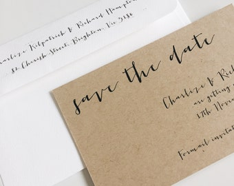 Deposit : kraft save the date cards SUITE 14 organic rustic wedding save the date,calligraphy save the date, vintage save the date, script