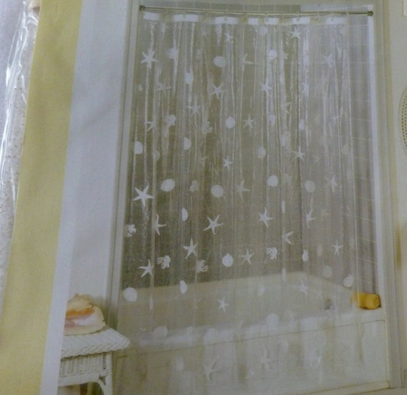vintage clear vinyl shower curtain crackled shell with sand