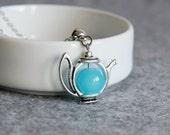 Blue Teapot Pendant, Teapot Necklace, Silver Turquoise Teapot, Silver Light Blue Pendant,For Tea Lovers,Tea Party,Teapot Jewelry,Blue Teapot