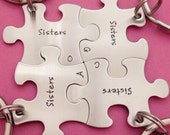 Sisters Puzzle Piece Key Chains with Initials Hand Stamped Stainless Steel  - Choose Your Quantity