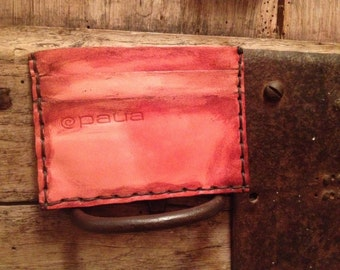 Portafoglio,wallet, handmade in genuine leather nuanced,cucito a mano