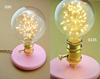 Ceramic table lamp wooden base vintage style industrial vip table lamp pink lady wooden base vintage wire special valentines gift gold greentooth Images