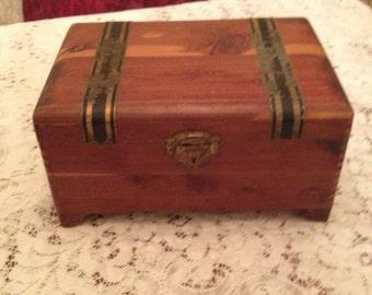 Handcrafted Vintage Wooden cedar Trinket, Cigar or Jewelry Box