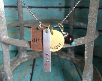 Dirt Road Dreamer Metal Stamped Charm Necklace