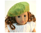 "American Girl Doll, Beret, fits 18"" Doll Clothes, Hand Knit Doll Hat"