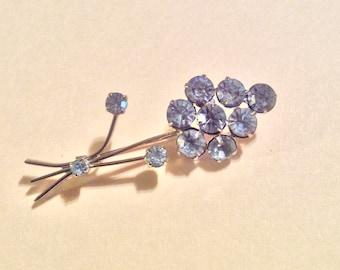 Vintage Austrian Rhinestone Pin - Brooch - Flower Design