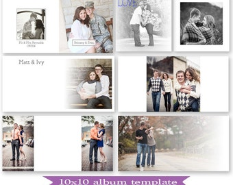 PSD 10x10 guest book album template - photoshop template for professional photographers - Y809 minimal style