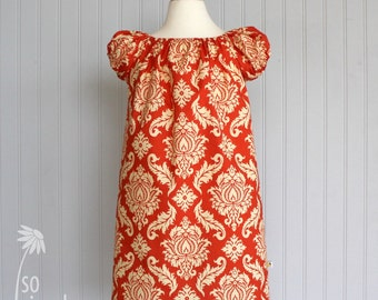 girl's fall dress, Thanksgiving dress, orange cream dress, orange damask, puff sleeve dress, sibling outfit, fall photo outfit,joel dewberry