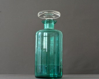 vintage french green glass design carafe - pitcher