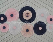 Pink and Navy Nautical  Set of 11 (ELEVEN) paper fans/rosettes, decorations for Girl Baby Shower,Birthday Party or Wedding