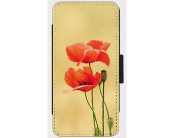 Smartphone Flip Case Together  for iPhone Samsung Sony LG Nexus HTC Flowers Nature Photography Fine Art Vintage poppy red beige