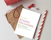 1 or pack of 6 Christmas wishes card. Colourful Christmas card. Recycled Christmas holiday card. Christmas kisses card.