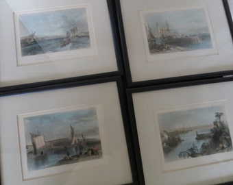 4 Stunning Framed 1800's Steel Engravings From England and Scotland