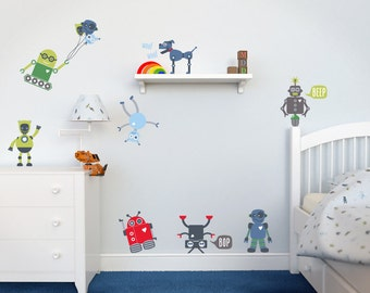 Childrens Wall Decals, Robot Wall Decals, Robot Wall Stickers, Wall Graphics, Childrens Wall Art