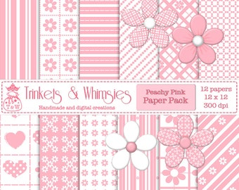 Peachy Pink Digital Scrapbook Papers - Instant Download