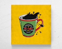 Retro kitchen art / coffee cup wall art, coffee art, retro coffee, coffee shop decor, coffee shop art, retro wall art, modern kitchen decor