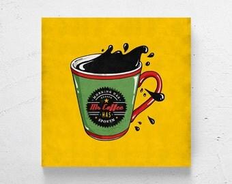 Retro kitchen art / coffee cup wall art, coffee art, retro coffee, coffee shop decor, coffee shop art, retro wall art, modern kitchen decor