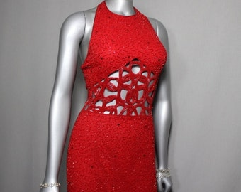 FREE SHIPPING USA only. Smokin Hot Fiery Red Beaded Peek a Boo Formal PromGown