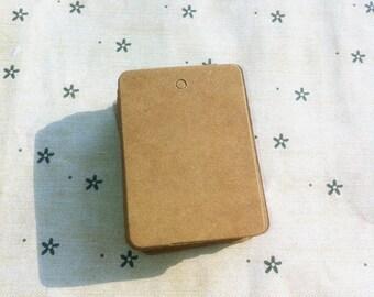 Brown kraft rectangular plain gift tag / cardboard tags in set of 50