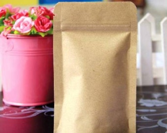 Kraft ziplock bags in set of 10 - 17 x 24 x 4 cm