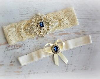 Ivory White Lace Sapphire Blue Bridal Garter Belt Wedding Set Keepsake Toss Shower Gift Beach Spring Summer